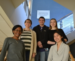 OS Lab 2014. From left to right: Louise Djapgne, Mandy Oglesby-Sherrouse, Jon Osborne, Alexandria Reinhart, Angie Nguyen