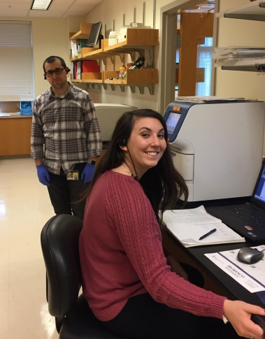 Cassie and Jon analyzing qPCR data