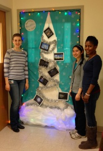"OS Lab holiday door decoration for 2014: ""Grad School: Frozen in Time"""